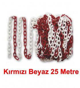 Kırmızı - Beyaz Plastik Zincir 25 metre