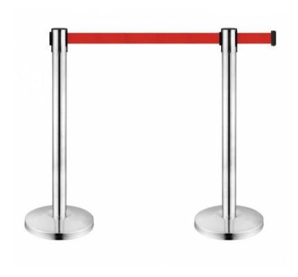 2 Adet ( ÇİFT ) Şerit Bariyer - 3 Metrelik Kırmızı Şeritli Yönlendirme Bariyeri Krom Bariyer